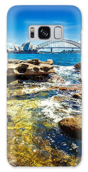 Sydney Skyline Galaxy Case - Behind The Rocks by Az Jackson