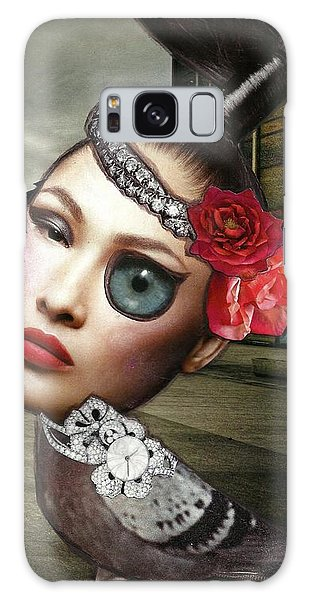 Mixed Media Collage Bejeweled Pigeon Lady Galaxy Case by Lisa Noneman