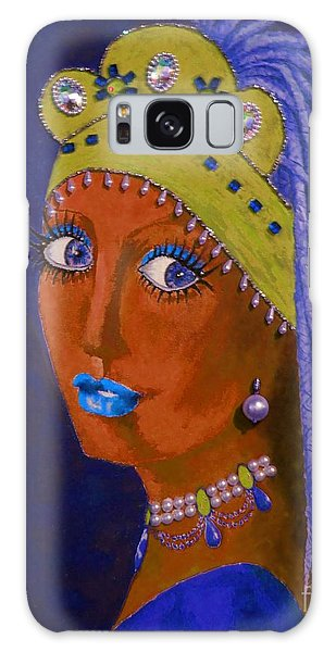 Girl With A Pearl Earring Galaxy Case - Belly Dancer With A Pearl Earring -- Blue Background by Jayne Somogy