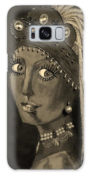 Girl With A Pearl Earring Galaxy Case - Belly Dancer With A Pearl Earring In Sepia by Jayne Somogy