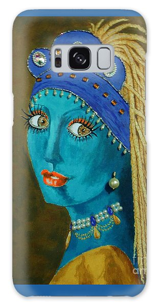 Girl With A Pearl Earring Galaxy Case - Belly Dancer With A Pearl Earring -- The Original -- Whimsical Redo Of Vermeer Painting by Jayne Somogy