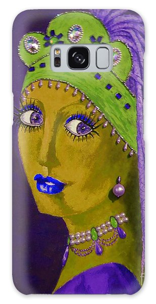 Girl With A Pearl Earring Galaxy Case - Belly Dancer With A Pearl Earring -- Purple Background by Jayne Somogy