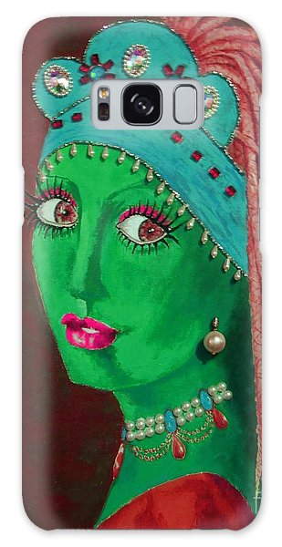 Girl With A Pearl Earring Galaxy Case - Belly Dancer With A Pearl Earring -- Red Background by Jayne Somogy
