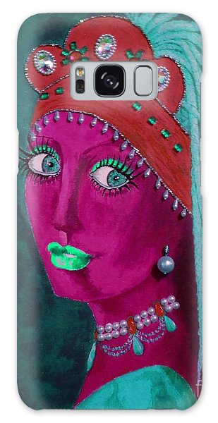 Girl With A Pearl Earring Galaxy Case - Belly Dancer With A Pearl Earring -- Teal Background by Jayne Somogy