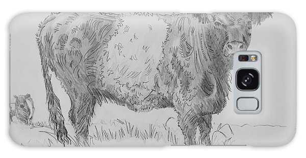 Belted Galloway Cow Pencil Drawing Galaxy Case