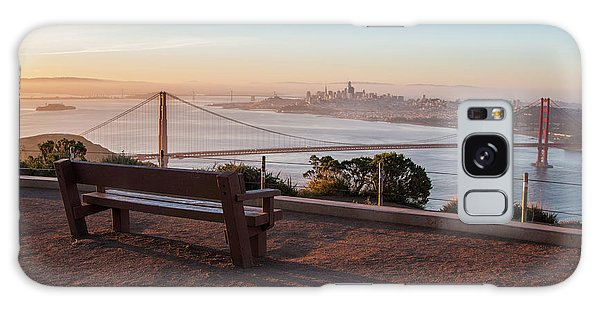 Bench Overlooking Downtown San Francisco And The Golden Gate Bri Galaxy Case