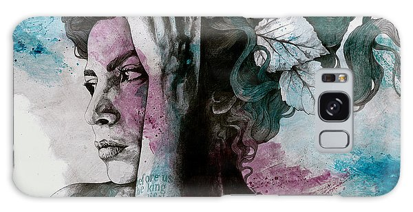 Beautiful Girl Galaxy Case - Beneath Broken Earth - Street Art Drawing, Woman With Leaves And Tattoos by Marco Paludet
