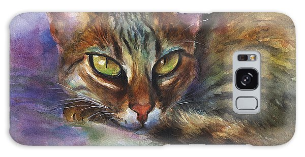 Impressionistic Galaxy Case - Bengal Cat Watercolor Art Painting by Svetlana Novikova