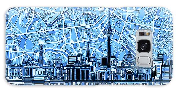 Berlin City Skyline Abstract Blue Galaxy Case by Bekim Art