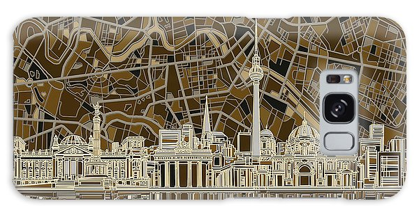 Berlin City Skyline Abstract Brown Galaxy Case by Bekim Art