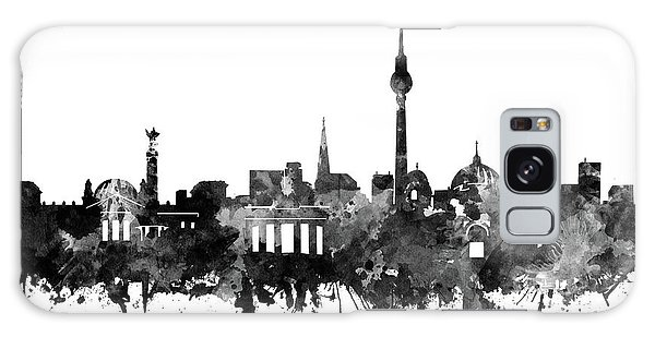 Berlin City Skyline Black And White Galaxy Case by Bekim Art