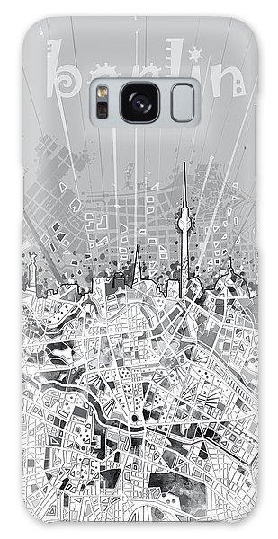 Berlin City Skyline Map 2 Galaxy Case by Bekim Art