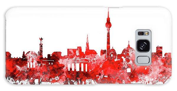 Berlin City Skyline Red Galaxy Case by Bekim Art