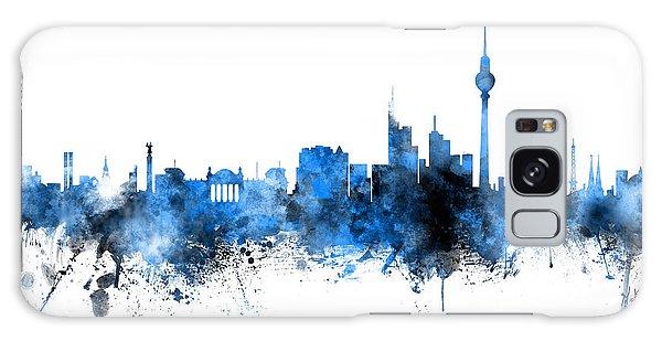 Berlin Galaxy Case - Berlin Germany Skyline Blue Signed by Michael Tompsett