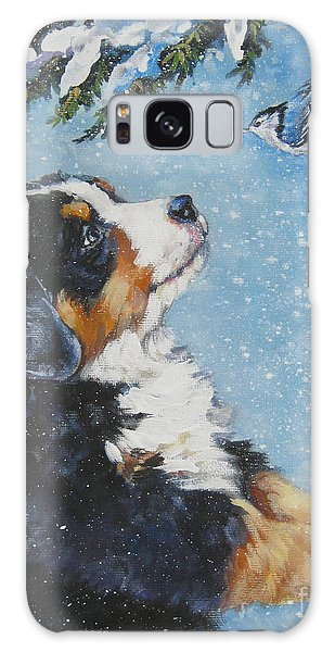 bernese Mountain Dog puppy and nuthatch Galaxy Case