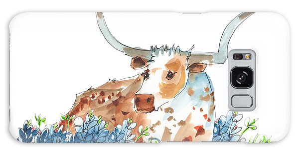 Bessie In The Bluebonnets Watercolor Painting By Kmcelwaine Galaxy Case