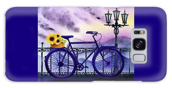 Galaxy Case featuring the painting Blue Bicycle And Sunflowers By Irina Sztukowski  by Irina Sztukowski