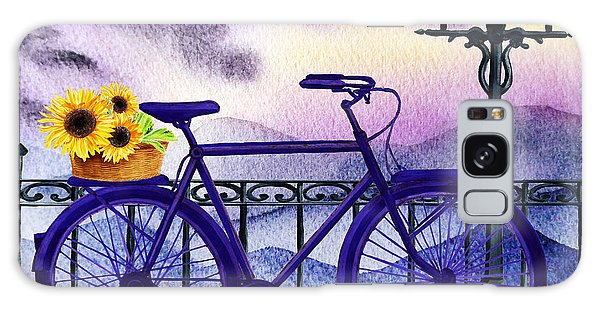 Outdoor Dining Galaxy Case - Blue Bicycle And Sunflowers By Irina Sztukowski  by Irina Sztukowski