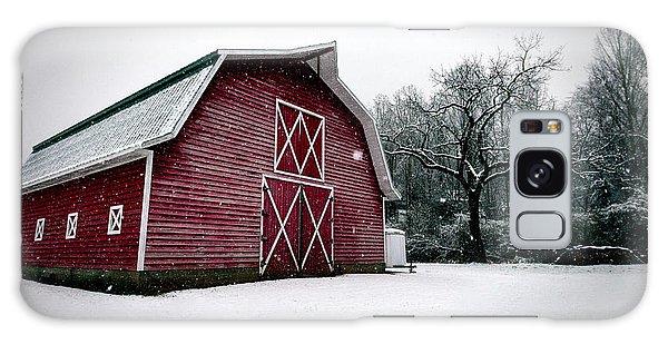 Big Red Barn In Snow Galaxy Case