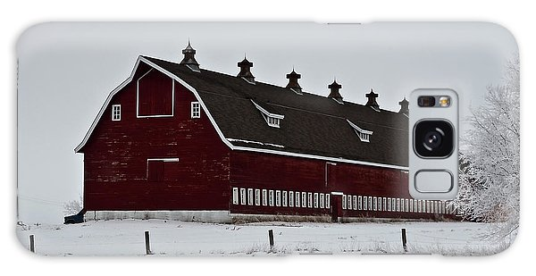 Big Red Barn In The Winter Galaxy Case