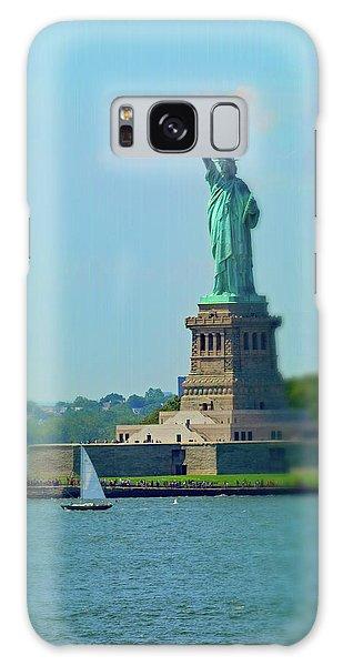 Big Statue, Little Boat Galaxy Case by Sandy Taylor