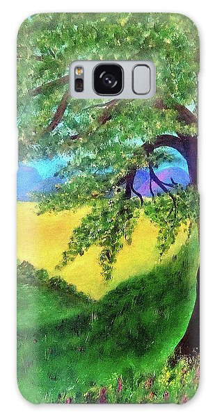 Galaxy Case featuring the painting Big Tree In Meadow by Sonya Nancy Capling-Bacle