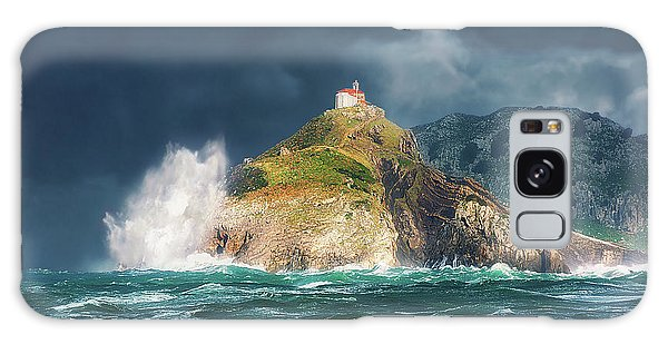 Big Waves Over San Juan De Gaztelugatxe Galaxy Case