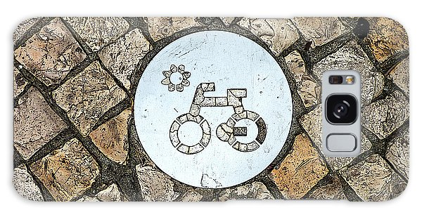 Bike Path Sign On A Cobblestone Pavement Galaxy Case