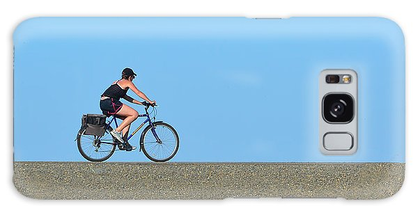 Bike Rider On Levee Galaxy Case