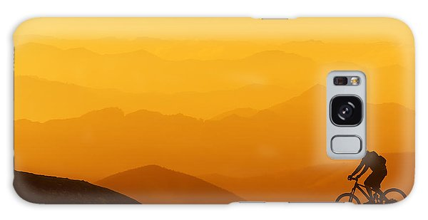 Biker Riding On Mountain Silhouettes Background Galaxy Case