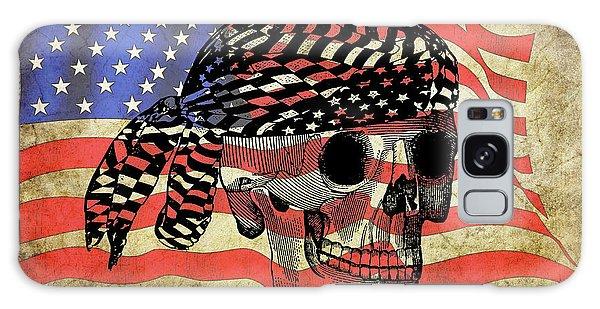 Biker Skull American Flag Old Paper Art Galaxy Case