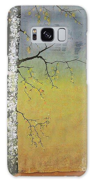 Birch In A Golden Field Galaxy Case by Carolyn Doe