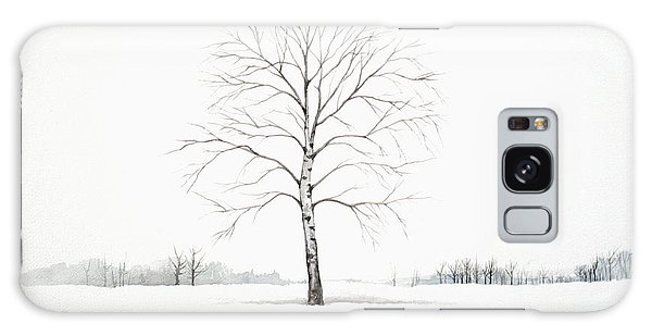 Birch Tree Upon The Winter Plain Galaxy Case