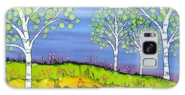 Birch Trees Abstract Landscape Ceramic Tile Paitning Galaxy Case