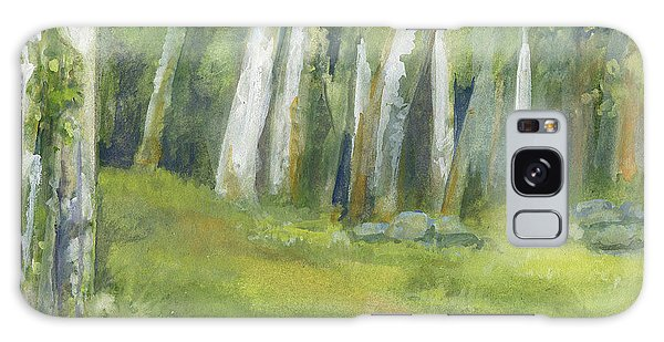 Birch Trees And Spring Field Galaxy Case