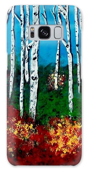 Galaxy Case featuring the painting Birch Woods by Sonya Nancy Capling-Bacle