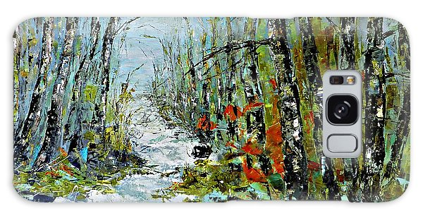 Birches Near Waterfall Galaxy Case