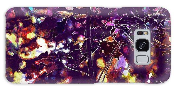 Galaxy Case featuring the digital art Bird Chickadee Black  by PixBreak Art