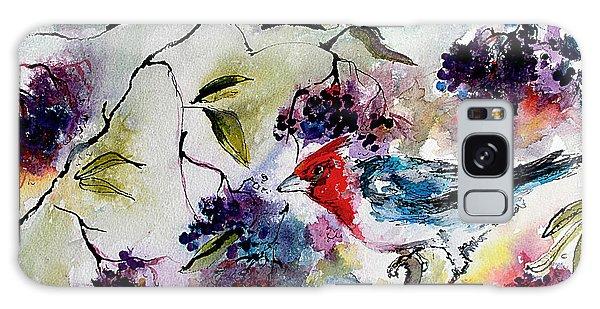 Bird In Elderberry Bush Watercolor Galaxy Case