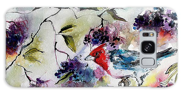 Bird In Elderberry Bush Watercolor Galaxy Case