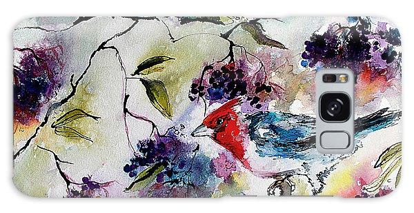 Bird In Elderberry Bush Watercolor Galaxy Case by Ginette Callaway