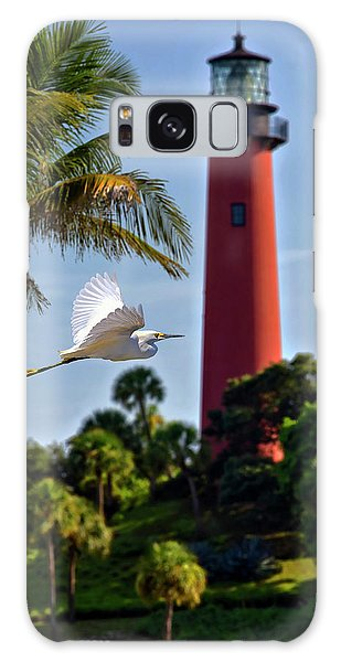 Bird In Flight Under Jupiter Lighthouse, Florida Galaxy Case by Justin Kelefas
