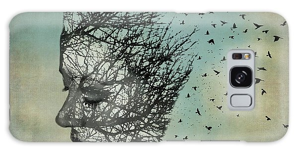 Bird Lady Galaxy Case by Diana Boyd