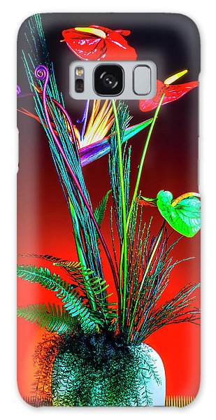 Vase Of Flowers Galaxy Case - Bird Of Paradise And Anthuriums In Vase by Garry Gay