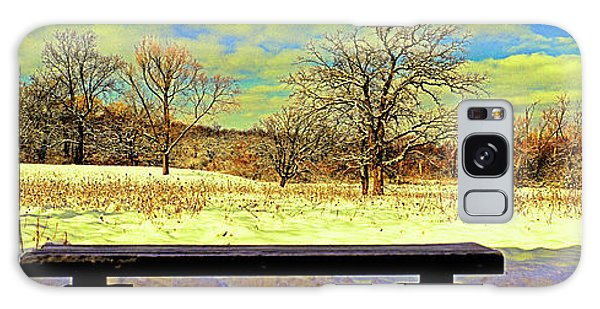 Bird Watchers Bench Winter Crabtree Nature Center Cook County Il Galaxy Case