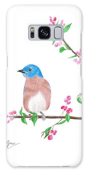 Minimal Bird And Cherry Flowers Galaxy Case