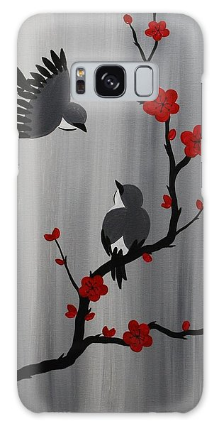 Birds And Blooms In Red Galaxy Case