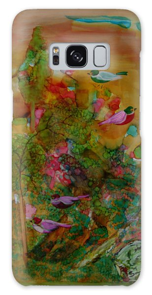 Birds In Exotic Landscape # 57 Galaxy Case by Sima Amid Wewetzer