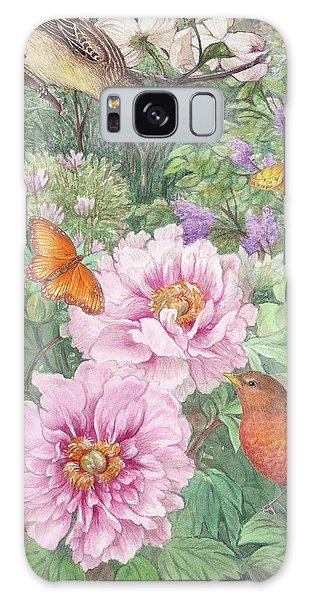 Birds Peony Garden Illustration Galaxy Case