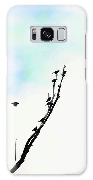 Galaxy Case featuring the photograph Birds Silhouette In Tree Blue by Jennie Marie Schell